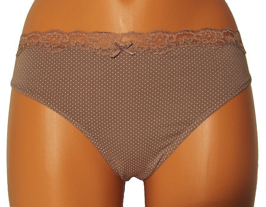 Dámské kalhotky z elastické bavlny PS2659 - hnědé