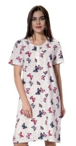 Dámská noční košile La Penna bílá s barevnými motýlky