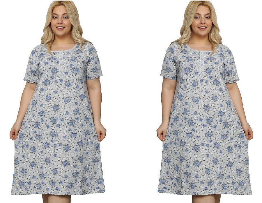 Dámská noční košile La Penna šedá s modrými květy