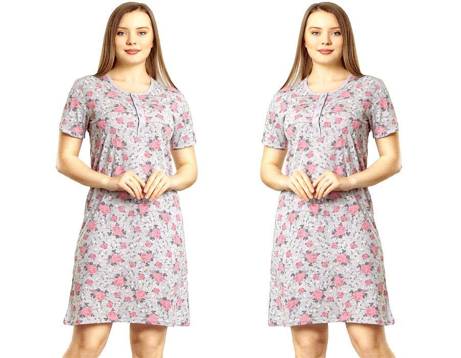 Dámská noční košile La Penna šedá s růžovými růžemi