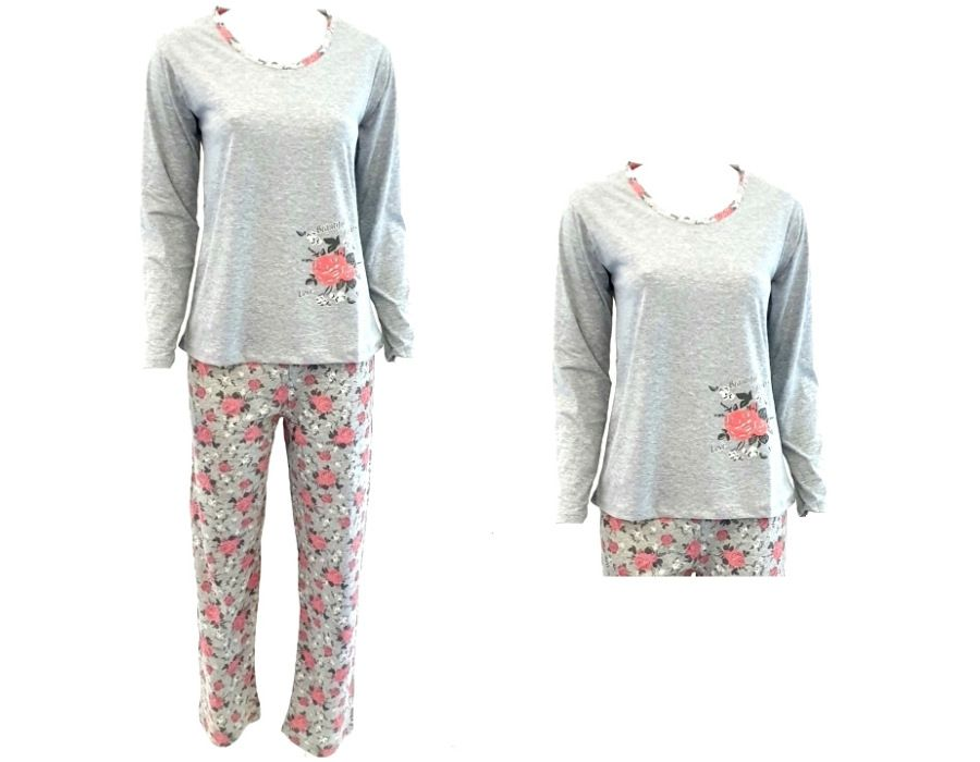 Dámské pyžamo La Penna šedé s růžovými květy