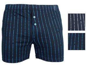 Pánské bavlněné trenýrky Molvy černé s bílo modrými čárkami