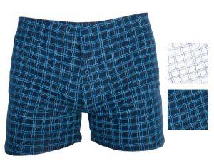 2 Pack Pánské bavlněné trenýrky Molvy modro bílé kostky