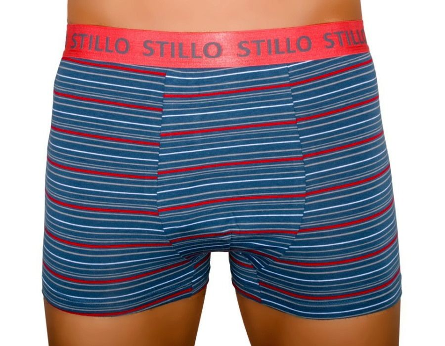 Pánské boxerky Stillo šedé s červenými proužky