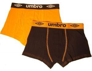 2 Pack Pánské boxerky Umbro UM1700 - oranžočerné