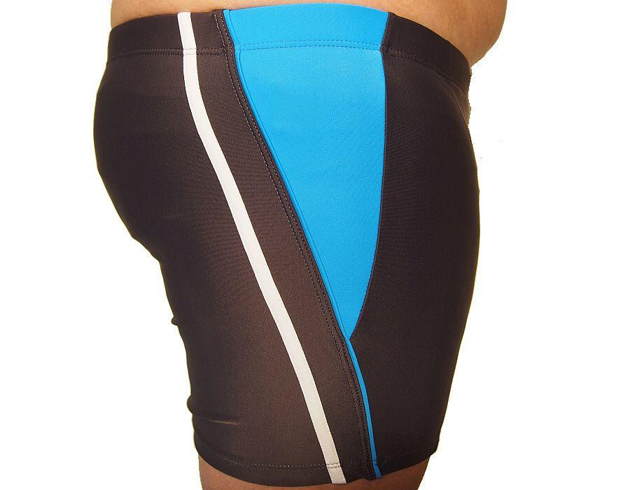 Pánské plavky boxerky Molvy šedé s modrobílým proužkem